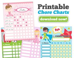 Chore Charts for Kids - 4 free downloads for boys and girls