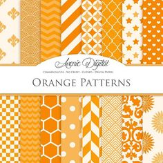 Orange Patterns Digital Papers. Patterns