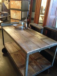 Amazing Reclaimed Wood Kitchen Island With Solid Metal Materials Kitchen Island Frame Also Round Shaped Black Wheels Accessories. .