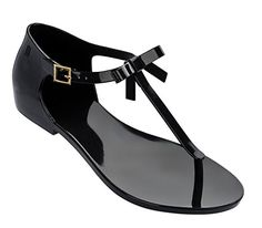 Melissa Womens Honey Thong Sandal Black Size 10 * To view further, visit
