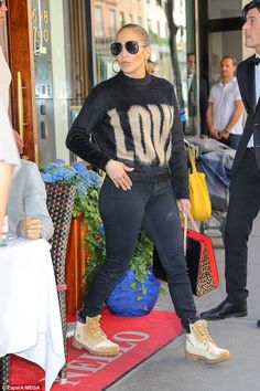 dc24d823eff4 Jennifer Lopez and Alex Rodriguez match in sweaters and jeans in NYC