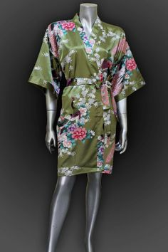 Short Bridesmaid Silk Robes Green Painting Peacock by thaichill, $21.00