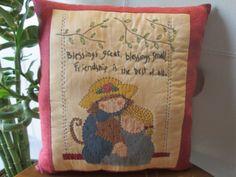 Decorative Inspirational Friendship Pillow by StitchingTimeBoutiqu