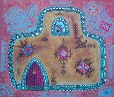 Peinture acrylique, toile Motifs berbères Artiste, Peintre marocaine Professeur d'arts plastiques d'une école à Marrakech, Maroc Née: en Russie en 1967 Vit et travaille au Maroc depuis 1992...