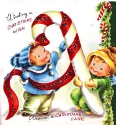 Kids Making a Candy Cane Vintage Christmas Card by PaperPrizes, $4.00