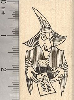 Halloween Witch Rubber Stamp Get Well Potion * Details can be found by clicking on the image.