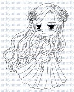 Digital Stamp-Florence, Digi Stamp, Coloring page, Printable Line art for Card and Craft Supply
