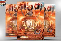 Country Night Flyer Template by FlyerHeroes on @creativemarket
