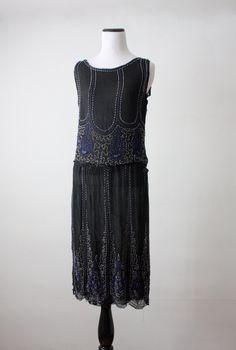 1920's silk chiffon beaded dress