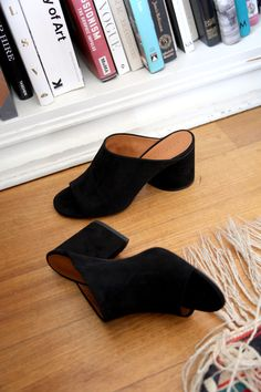 CLERGERIE | Caren Suede Mules | Minimal Nordic Heeled Mules, Minimalism, Wedges, Heels, Shopping, Women, Fashion, Moda, Women's