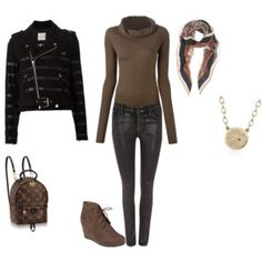 FW - D - JEANS, SWEATER, SCARF, JACKET, LACE-UP BOOTIES - BLACK & BROWN