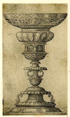 Goblet with a small portrait medallion near the rim; from a series of eleven small designs for goblets. Engraving 1530 - 1562 Print made by: Virgil Solis Historical Architecture, Art And Architecture, Pencil Sketch Images, Queen Anne Furniture, Mandap Design, Roman Sculpture, Grisaille, Anatomy Art, Patent Prints