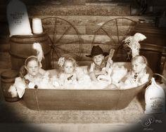 4 kids sitting in our log cabin bathtub scene. Old Time Photos, 4 Kids, Photo Shoots, Family Photos, Stuff To Do, Colorado, Bathtub, Scene, Cabin