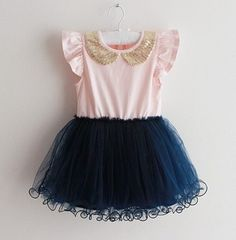 This+dress+is+the+sweetest!+Features+a+navy+skirt+tulle+tutu+skirt,light+pink+top+with+adorned+gold+peter+pan+collar,+also+comes+in+navy+top+with+white+tutu+skirt.+    Pre-order.+Ships+in+12-18+days.