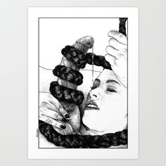 Asc 653 Le Boa Constrictor (milking The Caduceus) Wall Hanging Tapestry by From Apollonia With Love - Small: x Boa Constrictor, Canvas Prints, Art Prints, Tapestry Wall Hanging, Folded Cards, Erotic Art, Just For You, Black And White, Illustration
