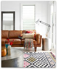 """""""Brooklyn"""" sofa from Freedom Furniture. Love the combination of energetic patterns with such a strong piece like s brown leather sofa. Style Salon, Freedom Furniture, The Design Files, Deco Design, Design Desk, Design Trends, Living Room Inspiration, Boho Inspiration, Interiores Design"""