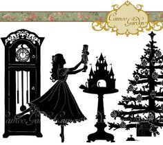 are you ready to get crafty for Christmas? perhaps a little clip art silhouette set with the theme of The Nutcracker - my favourite ballet! - will help get you started. Silhouette The Nutcracker Clipart Christmas Clip by CameoGarden Kirigami, Nutcracker Crafts, Nutcracker Christmas Decorations, Nutcracker Sweet, Christmas Holidays, Christmas Crafts, Xmas, Party Vintage, Silhouette Clip Art