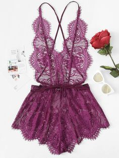 Shop Crisscross Open Back Eyelash Lace Teddy Bodysuit online. SheIn offers Crisscross Open Back Eyelash Lace Teddy Bodysuit & more to fit your fashionable needs. Body Lingerie, Cute Lingerie, Lingerie Outfits, Lace Lingerie Set, Vintage Lingerie, Beautiful Lingerie, Lingerie Sleepwear, Women Lingerie, Nightwear