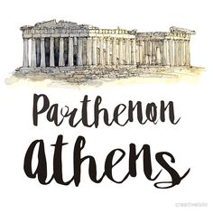 The Parthenon in Athens in watercolor • Buy this artwork on apparel, stickers, phone cases, and more.