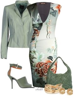 Love the color scheme of this outfit. Great accessories. I also like that the dress has a print.