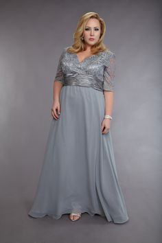 Silver mother of the bride dress (front)