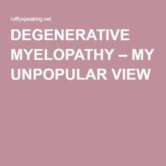 DEGENERATIVE MYELOPATHY – MY UNPOPULAR VIEW