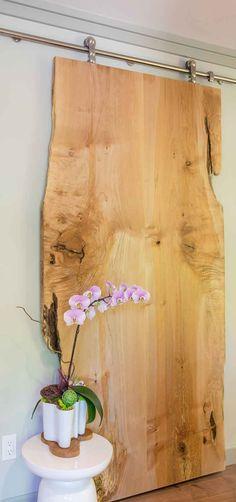 Sliding finished wood slab door in Kirkland, Washington condo retreat - by Amy May, May Designs, Seattle, WA. Washi Tape Door, Barn Door Decor, May Designs, Live Edge Wood, Wood Slab, Door Makeover, Wood Doors, Slab Doors, Door Design