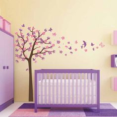 Tree With Birds and Butterflies Wall Decal. Great design ideas to decorate your baby boy and girl room. This DIY project bring the modern touch to your bedroom and nursery. Kids will surely love it!