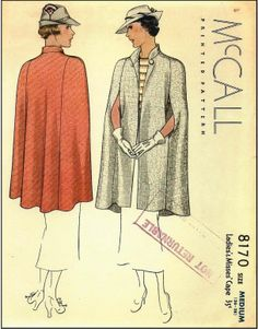 McCall #8170 - 1930s Ladies Cape Sewing Pattern