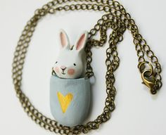 Bunny necklace Paper clay miniature white rabbit by sweetbestiary