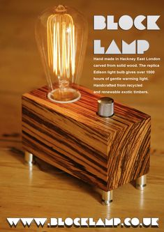 Hand made lamps in Hackney east London from recycled or reclaimed wood using replica Edison bulbs