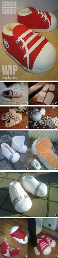 Crash Bandicoot Cosplay Shoes - WIP and HOW TO by Semashke on deviantART