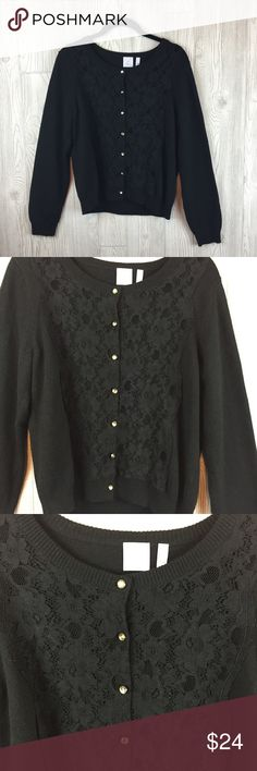 """J.Jill Alpaca Black Lace Cardigan Size M J. Jill little black cardigan sweater is still great to wear to the office.  Lace applique on the front.  Faux crystal buttons.  Banded hem and cuffs.  Measurements Bust 19"""" pit to pit, Sleeve 29"""", Length 21"""".  Fabric is a blend of 59% cotton, 22% Nylon,  11%  Alpaca, 8% Viscose. J. Jill Sweaters Cardigans"""