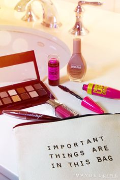 Never miss a touch-up. Put these new Maybelline essentials to work in your trusty makeup bag. Don't leave home without your Pumped Up! mascara, Dream Wonder foundation, The Nudes palette, and a Master Glaze blush stick.