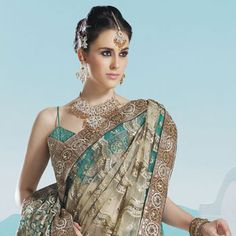 Beige and  Green Net Saree with Blouse