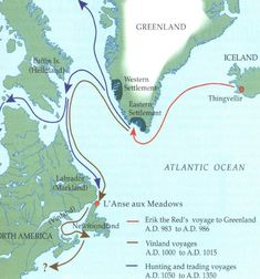 Viking settlements in North America.