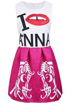 Rose Red Sleeveless Letters Lip Beauty Print Dress - Sheinside.com