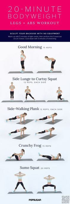 20-minute Bodyweight #Workout for Legs & Abs - Skip the Gym