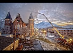 the provo utah tabernacle burning. vintage building. This building is being turned into and LDS temple. Can't wait to see the finished product!