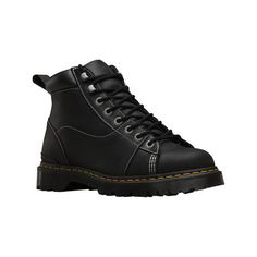 Men's Dr. Martens Alderton Padded Collar Ankle Boot - Black Kingdom/PU... ($145) ❤ liked on Polyvore featuring men's fashion, men's shoes, men's boots, casual, leather boots, mens short boots, mens ski boots, mens slip resistant shoes, mens black ankle boots and mens boots