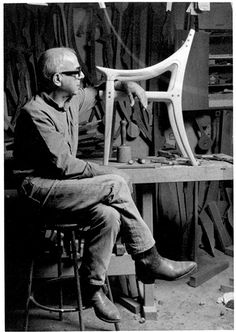 """Sam Maloof - He was described by the Smithsonian Institution as """"America's most renowned contemporary furniture craftsman"""" and People magazine dubbed him """"The Hemingway of Hardwood."""" But his business card always said """"woodworker. Sam Maloof, Malibu Los Angeles, Woodworking Plans, Woodworking Projects, Woodworking Inspiration, Woodworking Joints, Woodworking Furniture, Wood Furniture, Furniture Design"""