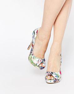 AX Paris Evie Print Peeptoe Court Shoes