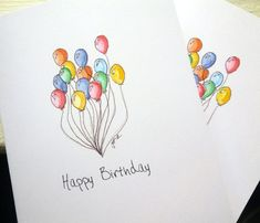 #handmade cards #happy birthday Balloon Art Birthday Cards Set Watercolor Art by jojolarue