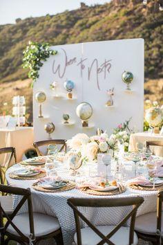 travel themed al fresco wedding   Photography: Birds of a Feather Photography