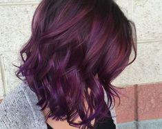 50 sweet plum hair color ideas - Hairstyle Fix Red Violet Hair, Violet Hair Colors, Dark Purple Hair, Bright Red Hair, Brown Hair Colors, Purple Ombre, Burgundy Hair, Short Purple Hair, Colourful Hair