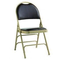 CLOSEOUT - 4 PACK Samsonite Comfort Series Bonded Leather & Memory Foam Padded Folding Chair-Beige