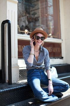 Chambray shirt and denim bells.