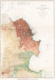 1853 US Coast Survey, shows San Francisco and the surrounding coastline.