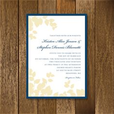 Navy and champagne leaves Pocket invitation by PaperGoodiesbyKim