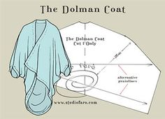 An excellent wrap around for winter! #PatternPuzzle - The Dolman Coat  #PatternMaking